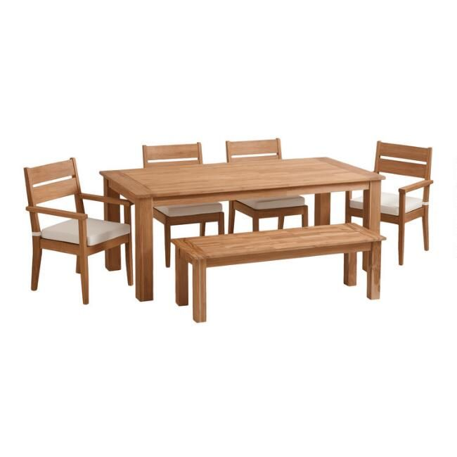 Natural Teak Calero Outdoor Dining Collection World Market Diy