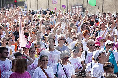 Race for the cure 2015, Rome. Italy. Susan G. Komen association. Race against breast cancer. 70,000 participants at the event. Crowd