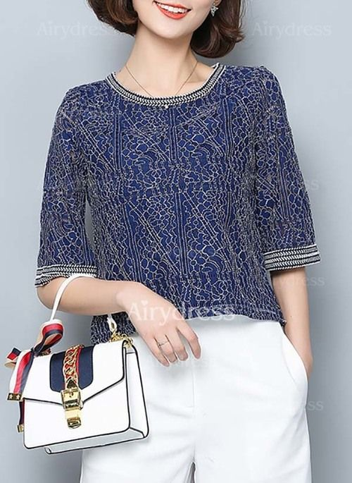 Solid Elegant Cotton Round Neckline Half Sleeve Blouses (1039060) @