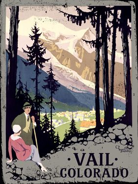 Vail, Colorado vintage travel poster with hikers