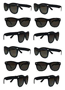 The Gags-Party Pack-12 Plastic Retro Wayfarer Risky Business-Blues Brothers Black Sunglasses For Graduation-Mardi-Gras-Holidays-Birthdays-Parties-One Size Fits Most Adults and Kids