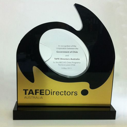 TAFE: Another stylised award, designed to represent Australia and the logo of TAFE in a contemporary way, as a unique and treasured gift for international visitors