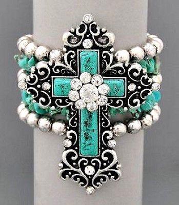Fancy Cross Rhinestone & Turquoise Stretch Bracelet