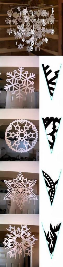 Tutorial para hacer bellos copos de nieve, de papel. Con 34 Plantillas.