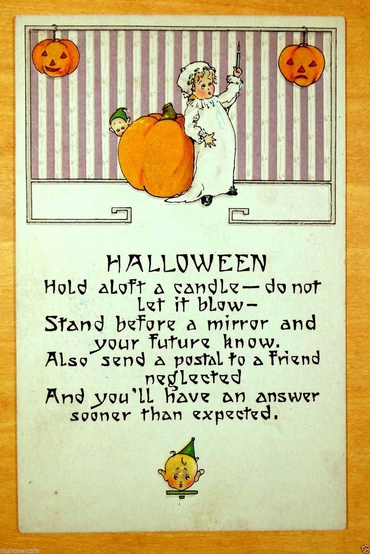 MIRROR AND YOUR FUTURE SPELL Pixies rare Nash HALLOWEEN H-30 Vintage Postcard | eBay