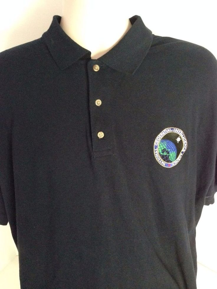 National Geospatial Intelligence Agency Blue Polo Shirt Size Large L Usa Govt