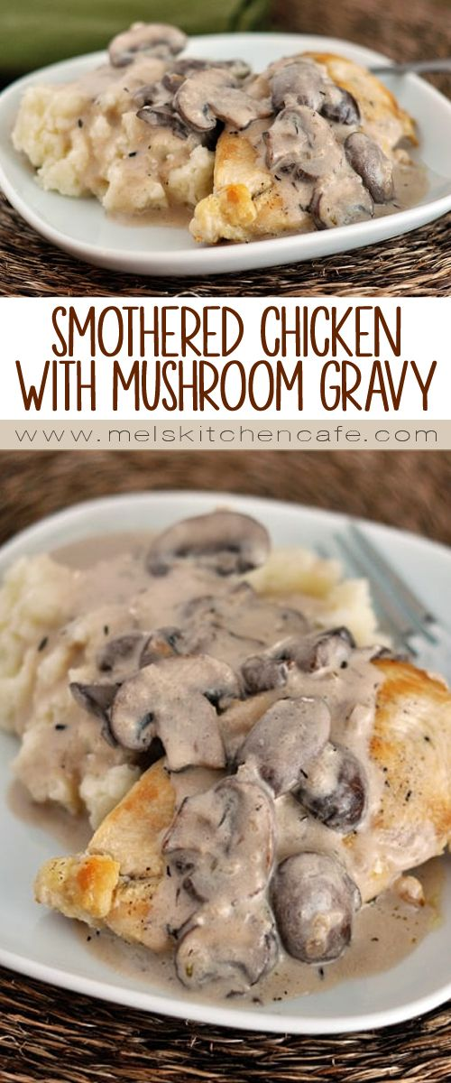This homemade smothered chicken with mushroom gravy is easier than you think to make, but tastes luxurious and expensive and is oh-so delicious.