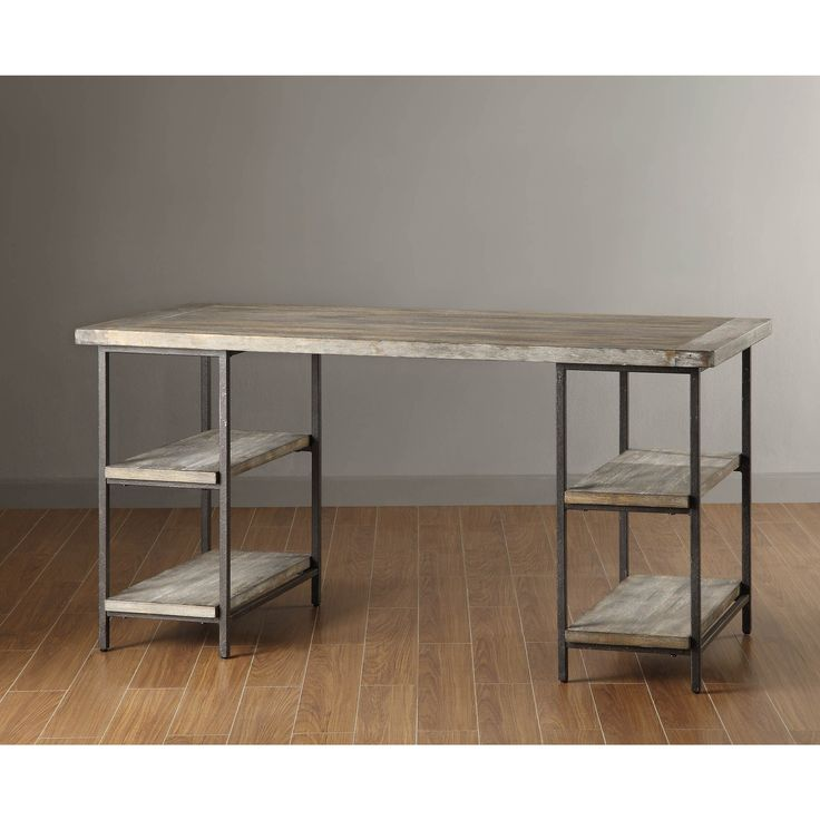 Madison Park offers this great looking and unique desk that will go with any decor. Its features include a sturdy and attractive metal frame, four shelves for your books, binders, and other office ite
