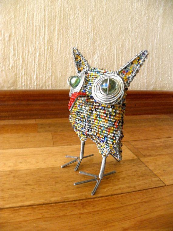 Afrikaanse kralen draad dier Sculpture X-SMALL OWL door Hadeda