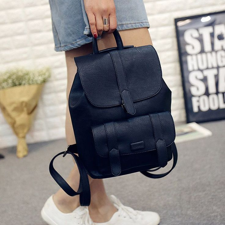 Vintage Toposhine Famous Brand Backpack Women Backpacks Solid Vintage Girls School Bags for Girls Black PU Leather Women Backpack 1523