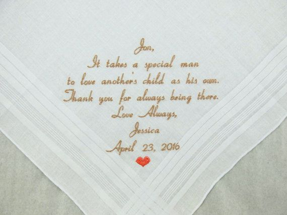 Step Father of the Bride Gift Step Dad Wedding Gift Embroidered Wedding Hankerchief Personalized Handkerchief Napa Embroidery  See other Great