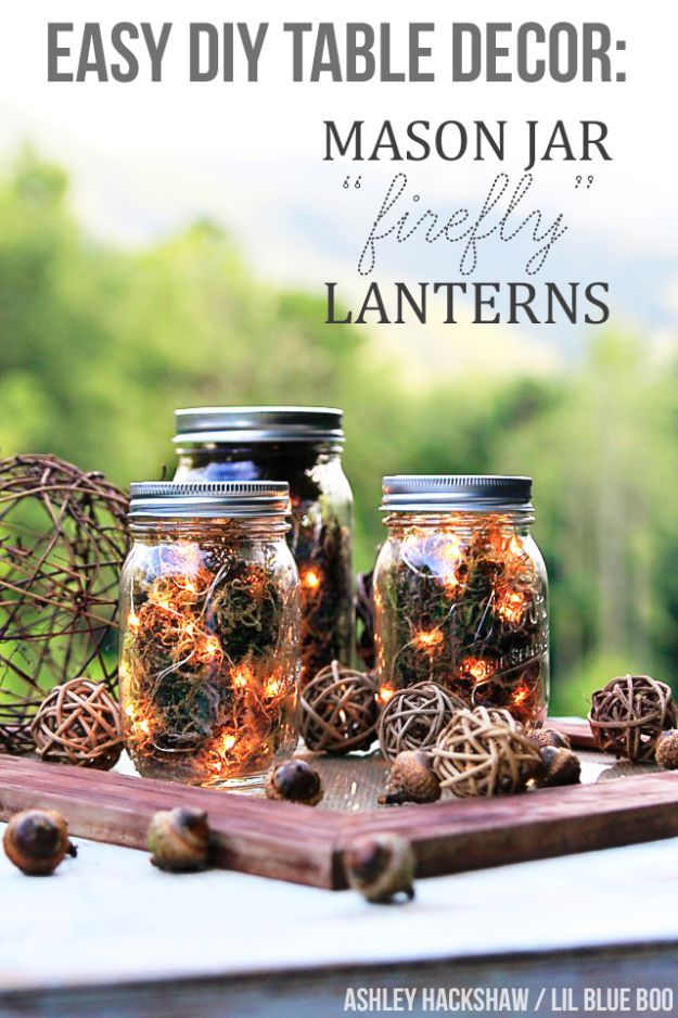 Best Mason Jar Crafts for Fall - Mason Jar Firefly Lanterns - DIY Mason Jar Ideas for Centerpieces, Wedding Decorations, Homemade Gifts, Craft Projects with Leaves, Flowers and Burlap, Painted Art, Candles and Luminaries for Cool Home Decor http://diyjoy.com/mason-jar-craft-ideas-fall