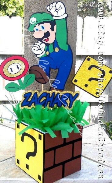 Luigi Centerpiece Mario Bros Party Decor Pinterest