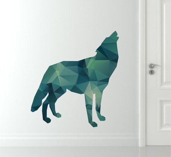 Wolf Wall Decal - Geometric Wolf Decal - Modern Wolf Wall Decal - Reusable Wolf Fabric & 32 best Reusable Wall Decals - Move them around and play with them ...