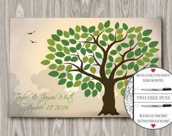Wedding Guest Book Alternative, Wedding Guestbook Tree, Wedding Guest Book Canvas, Spring Guest Book, (175 to 300 guests) 24 x 36 inch