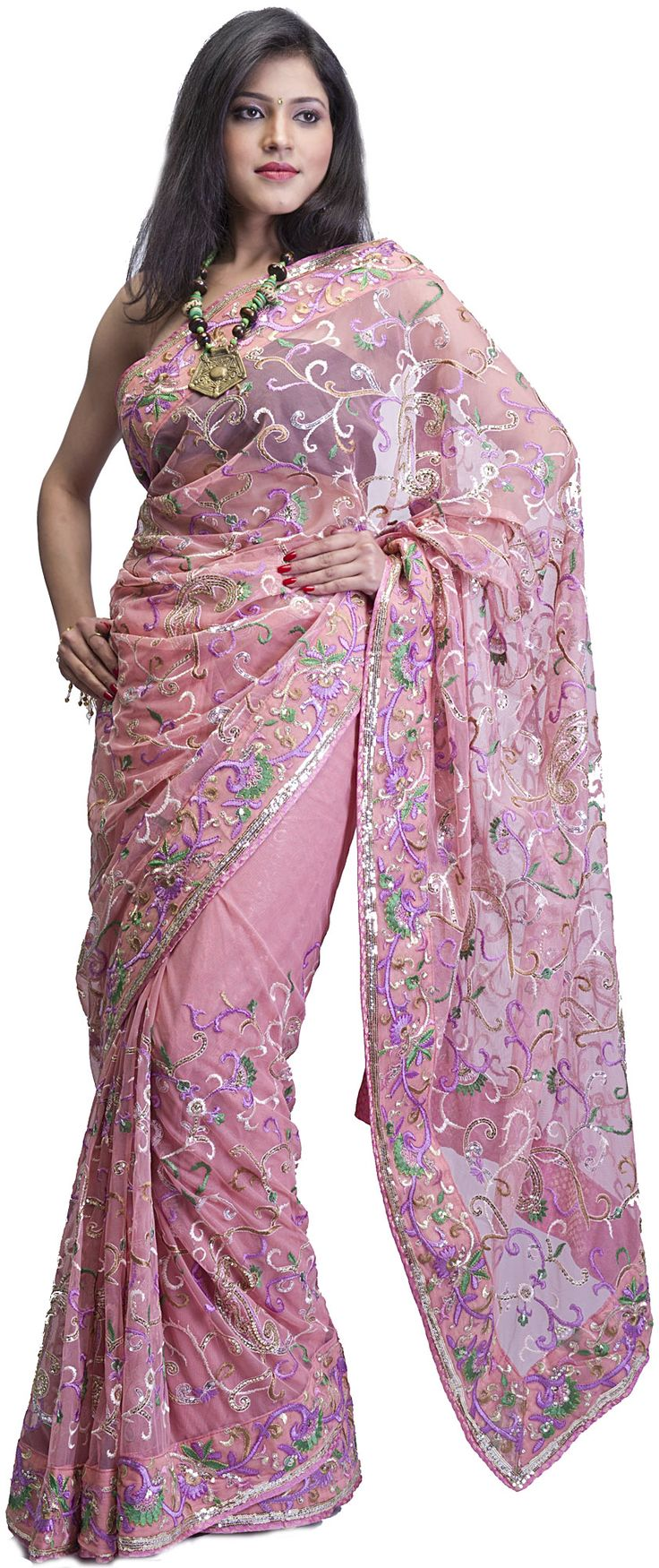 Rosette-Pink Bridal Sari with All-Over Ari Embroidery