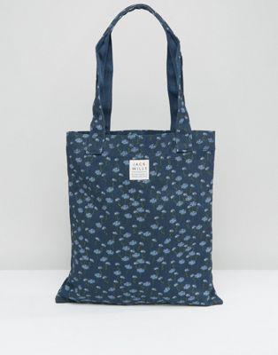 Jack Wills Navy Floral Tote Bag