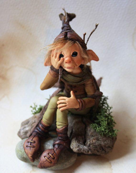 OOAK elf sculpture polymer clay art doll garden pixie
