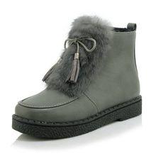 Большой Размер 34-45 Мода Стиль Теплые Платформы Одежда Зимняя Обувь Круглого toe женщин снегоступы плоские пятки бабочкой ботильоны(China (Mainland))