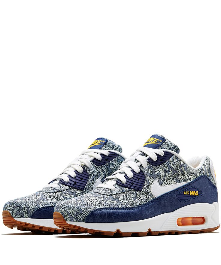 nike x liberty ss15 collection white merlin air max thea trainers; gold liberty  nike x liberty dark blue crown liberty print air max 90 trainers trainers by