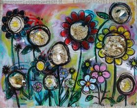 SUNSHINEY DAY BY: SARAH WHERRY 36CM X 28CM X 4CMMixed on Canvas $126 Sunshiney Day is a complimentary piece to In Bloom. An extension of that secret garden, that happy place that makes you feel all warm and fuzzy. Somewhere you want to return to again and again.   A textural work, consisting of layers of ink, gouache, oil pastel and vintage papers with Liquetex gloss medium.
