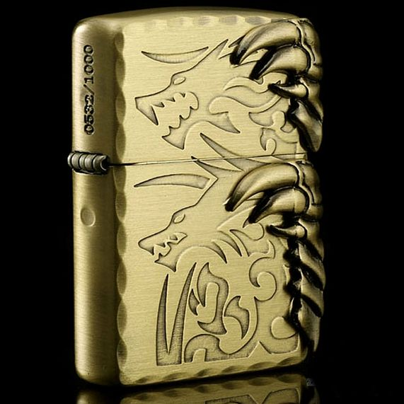 Japanese Antique Brass Tribal Dragon 2 Claw Zippo Limited Edition