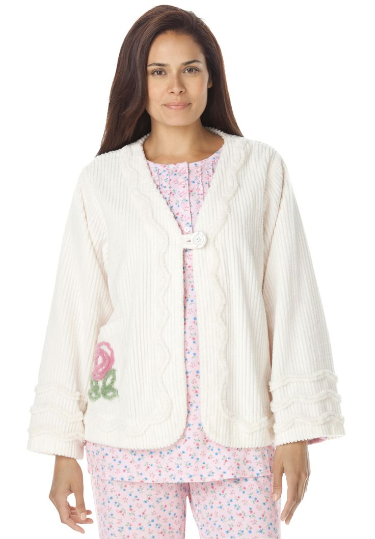 Robe, bed jacket length in plush chenille by Only Necessities® | Plus Size Robes & Slippers | Woman Within