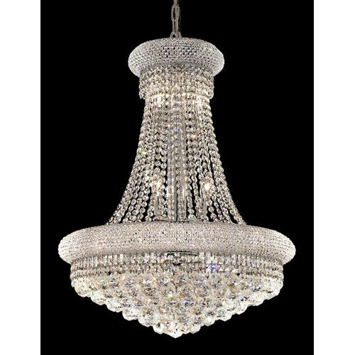 Primo Chrome Fourteen-Light 24-Inch Chandelier with Royal Cut Clear Crystal
