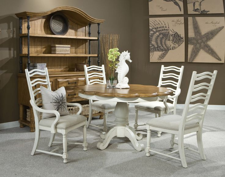 Coronado two tone round table dining room set panama for 2 tone dining room sets