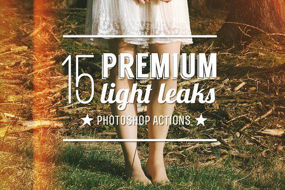 15 Premium Light Leak Actions by ZedProMedia on @creativemarket