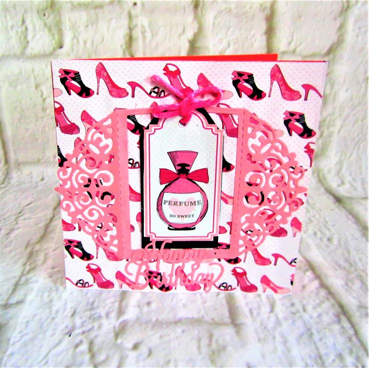 Gorgeous female birthday card with bubblegum pink shoes and perfume bottle.  Free postage
