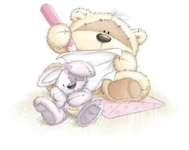 Картинки с зайчиком и медвежонком