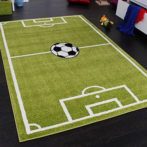 Teppich Kinderzimmer Fußball Spielteppich Kinderteppich Fußballplatz Grün, Grösse:120x170 cm