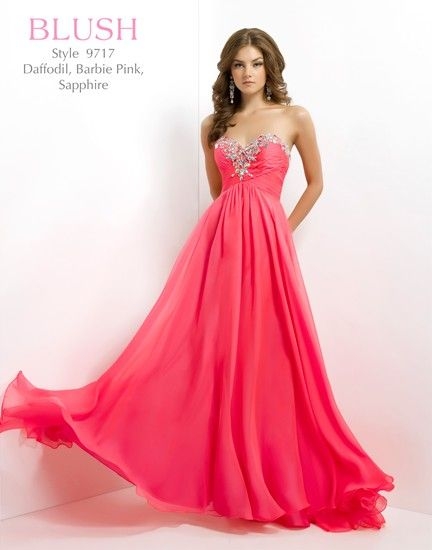 Elegant in flared chiffon from Blush Prom.