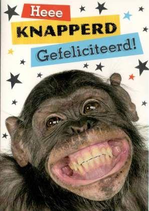 Heee knapperd Gefeliciteerd! #Grappige felicitatiekaart! #verjaardagskaart aap #verjaardagskaart humor