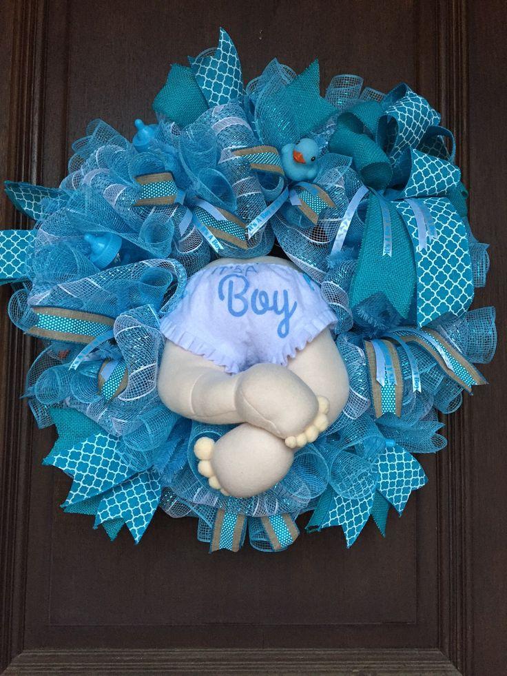 Baby Boy Wreath, Baby Shower Wreath, Baby Booty Wreath