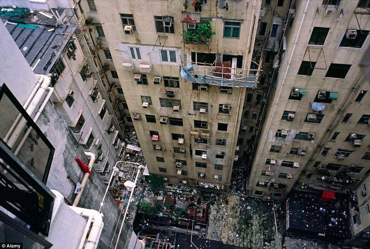 Slums: Apartments in the district of Kowloon City, where some of the aerial pictures were taken. The wealth to poverty imbalance in the city...