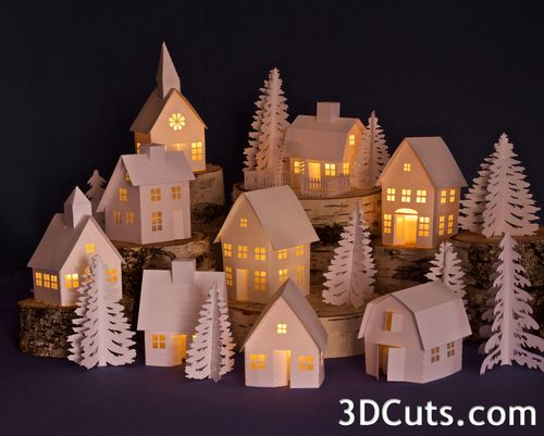 Tea Light Village expanded for 2015, 3DCuts.com, Marji Roy, 3D cutting files in .svg, .dxf, and .pdf formats for use with Silhouette and Cricut cutting machines