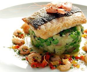 Recipe : Pan-fried Fillet of Welsh Seabass with Shrimp Butter and Crushed New Potatoes with Peas : Gwesty Cymru
