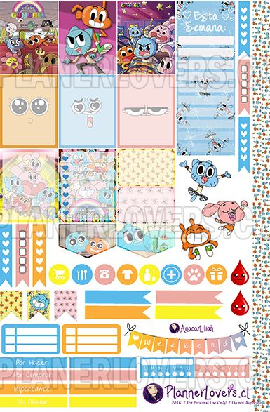 The amazing world of Gumball planner stickers