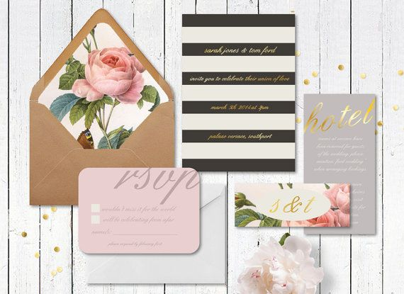 vintage floral wedding invitation,garden wedding invitation,floral envelope liner,natural wedding invitation,gold wedding invitation,stripes on Etsy, $10.00