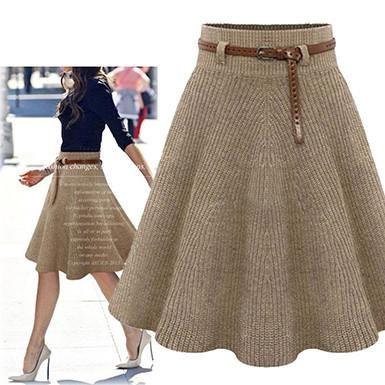 Khaki A Line Knitted Skirt