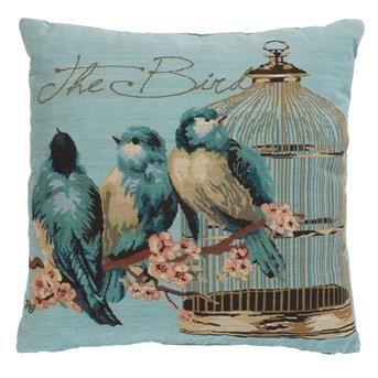 KUSSEN BIRDS BLAUW 45X45 CM
