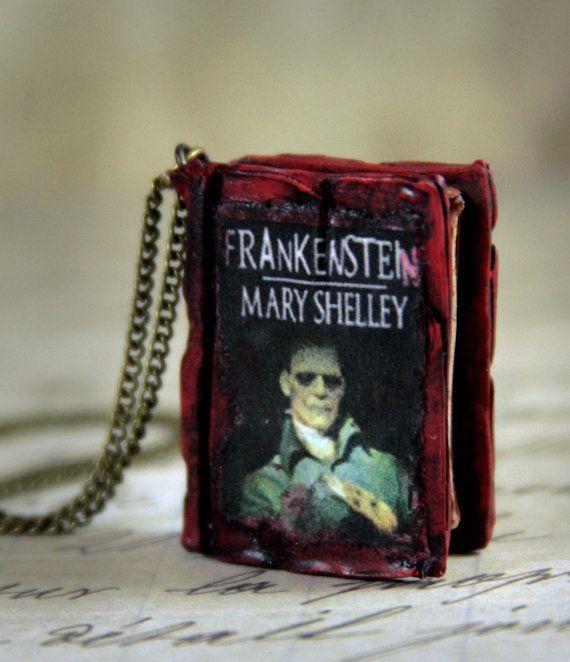 Mary Shelley Frankenstein Book Necklace by NeverlandJewelry, $27.00