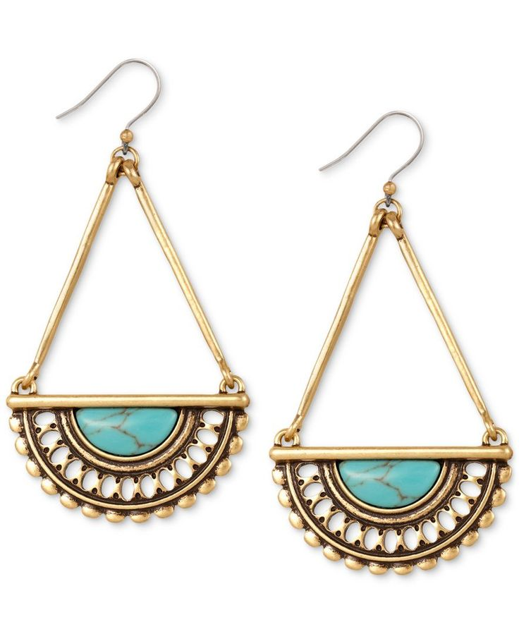 Lucky Brand Gold-Tone Decorative Drop Earrings