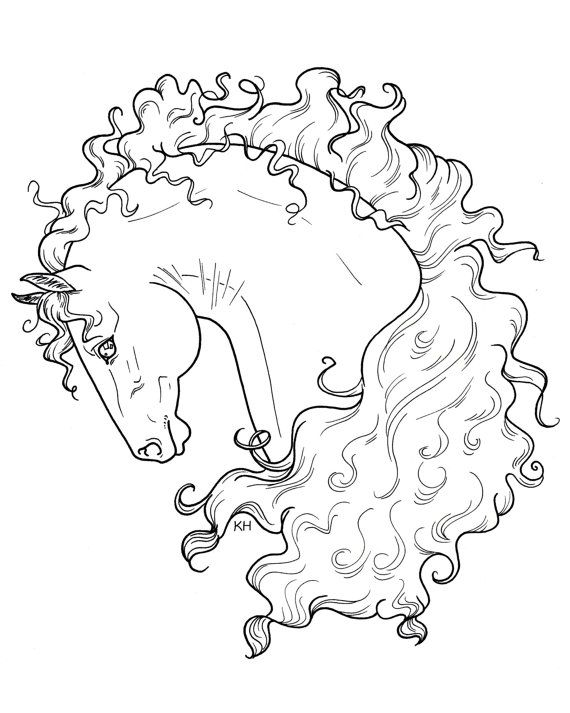 Beautiful Horse Coloring Page Digital File Curly Mane Fantasy Whimsical  Portrait Head 8x10 Kate