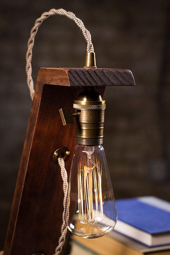 Lampe de Table en bois Edison par DanCordero sur Etsy