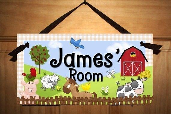 Farm Animal Childrens Bedroom Nursery DOOR SIGN by ToadAndLily, $14.00