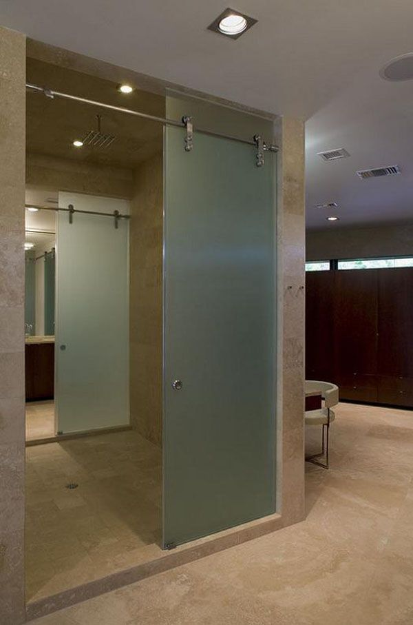 Shower door on a sliding rail. I like this idea too, but I'm not sure how well it would seal. Probably better if mounted INSIDE a raised lip or inside a track depression in the floor.