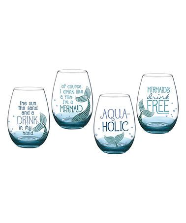 Look what I found on #zulily! Blue Mermaid Stemless Wine Glass - Set of Four #zulilyfinds